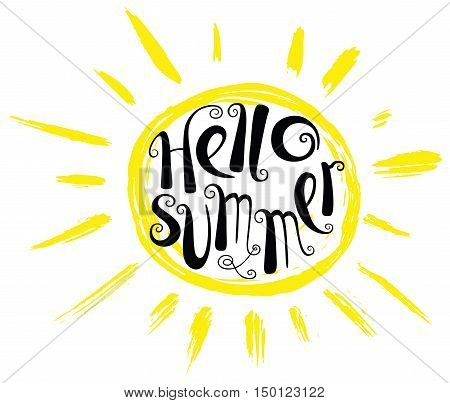 Hello summer lettering composition. Inspirational quote with hand-drawn artistic letters. Line art doodle vector illustration with sun silhouette. Design element for seasonal posters t-shirts and greeting cards