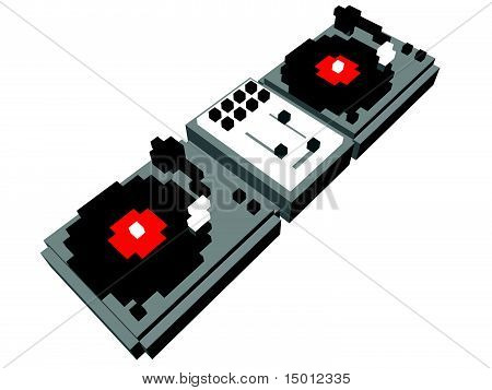 Cartoon DJ's double turntable
