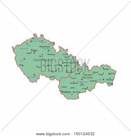 Czech Republic and Slovakia map on a white background. Vector illustration