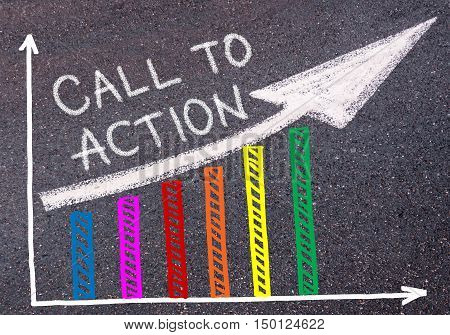 Call To Action Written Over Colorful Graph And Rising Arrow