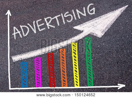 Advertising Written Over Colorful Graph And Rising Arrow