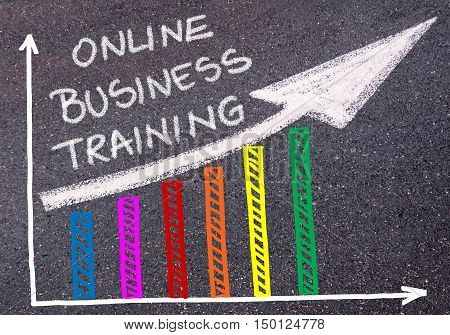 Online Business Training Written Over Colorful Graph And Rising Arrow