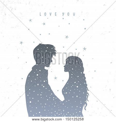 Romantic silhouette of loving couple with stars. Vector illustration