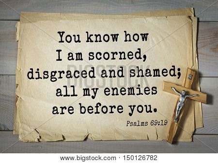 TOP-1000.  Bible verses from Psalms. You know how I am scorned, disgraced and shamed; all my enemies are before you.