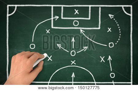 hand drawing football strategy on green chalkboard