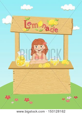 Girl selling fresh lemonade in small stand in garden vector illustration.
