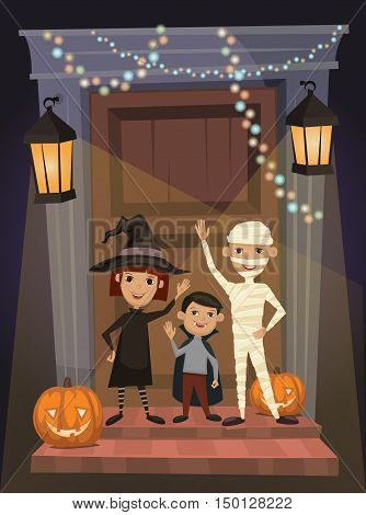 Children in vampire costumes, witches and mummies stand on threshold of the house on the Halloween night. Halloween concept. Beggars Night october holiday. All Hallows Evening. Cartoon vector illustration. Halloween kids.