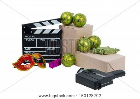 box with ornaments and a mask in films
