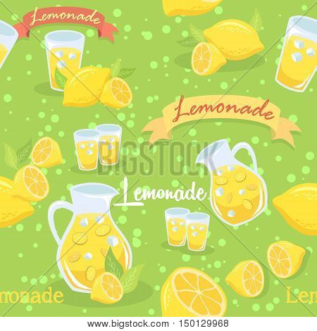 Seamless pattern illustration of a pitcher of lemonade, glass of lemonade, and lemon fruit in green background.