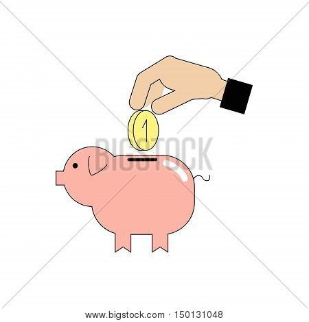 Icon Piggy bank and hand with coin. Vector Linear flat