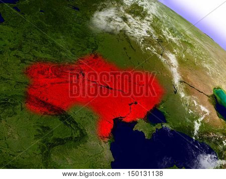 Ukraine From Space Highlighted In Red