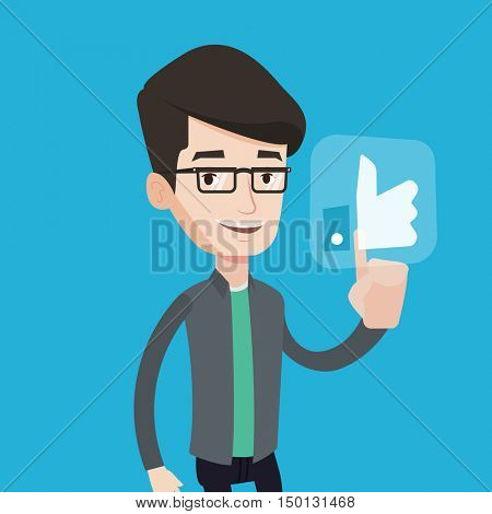 Young happy man pressing like button. Man pressing modern social button with thumb up. Caucasian smiling man pressing social network button. Vector flat design illustration. Square layout.