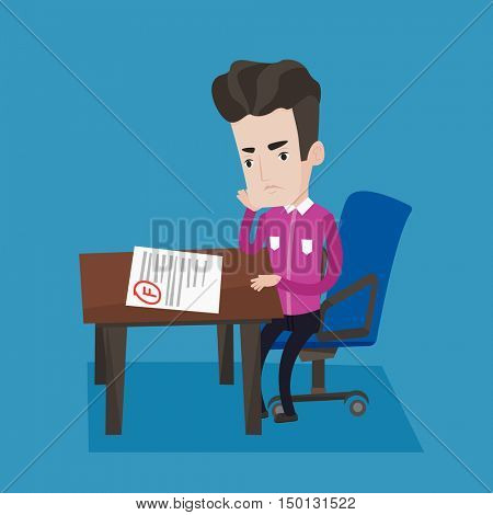 Sad young student looking at test paper with bad mark. Student disappointed F grade. Student dissatisfied with the test results. Concept of education. Vector flat design illustration. Square layout.