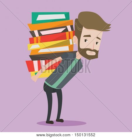A hipster tired student with the beard carrying a heavy pile of books on his back. Upset student walking with huge stack of books. Concept of education. Vector flat design illustration. Square layout.