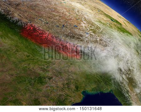 Nepal From Space Highlighted In Red