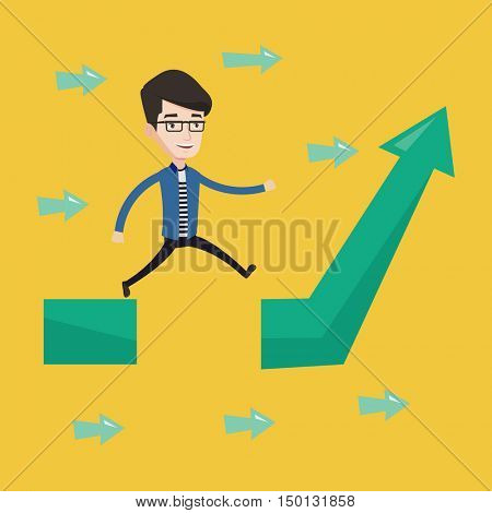 Happy businessman running on arrow going up. Businessman running on ascending graph and jumping over gap. Business growth and business solutions concept. Vector flat design illustration. Square layout