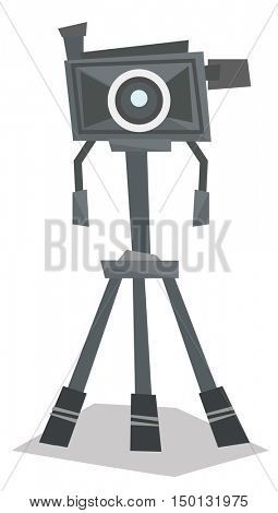 Front view of photo camera on tripod vector flat design illustration isolated on white background.