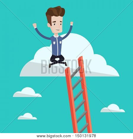 Young happy businessman with rised hands sitting on the cloud with ledder. Successful businessman relaxing on the cloud. Concept of success in business. Vector flat design illustration. Square layout.