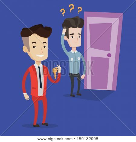 Happy businessman showing key on the background of young man looking at a door with question marks. Concept of making the right decision in business. Vector flat design illustration. Square layout.