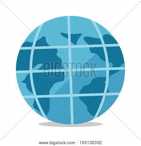 Globe vector flat design illustration isolated on white background.