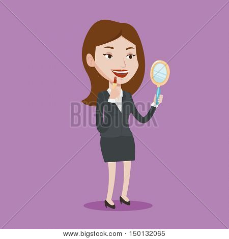 Smiling woman doing makeup and looking in hand-mirror. Woman rouge lips with red color lipstick. Young woman paints her lips. Woman applying lips makeup. Vector flat design illustration. Square layout