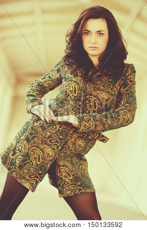 Pretty brunette fashion model woman