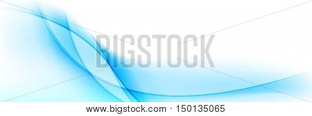Abstract shiny blue wavy banner design. Vector waves header background