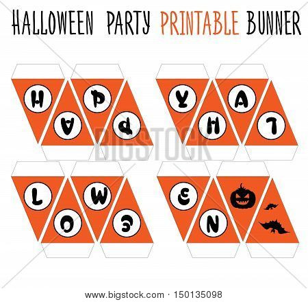 Printable set for Halloween party. Handmade banner