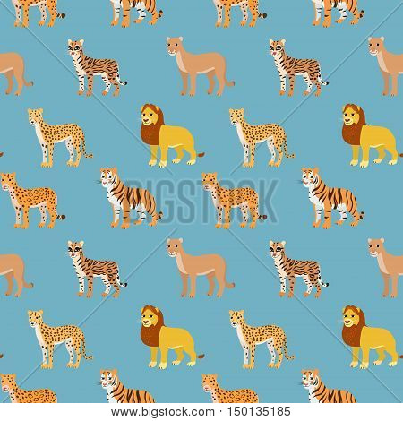 Seamless pattern with cartoon animals. Funny endless background with lion leopard cheetah ocelot puma and tiger. African pattern. Vector illustration.