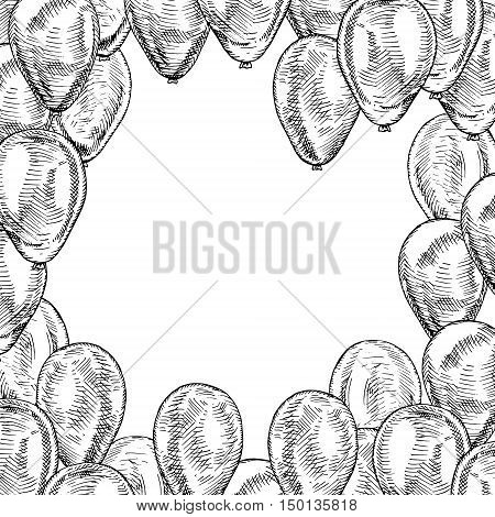 Frame with balloons on white background. Vector sketch for holidays. Design for cards isolated. Black white balloons. Doodle design. Retro vintage style. Vector illustration.