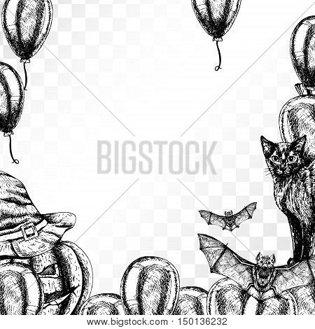 Frame Halloween on transparent background. Patterned Border. Black and white graphic vintage design. Template with cat witch hat bat pumpkin and balloon. Drawing line sketch. Vector illustration.