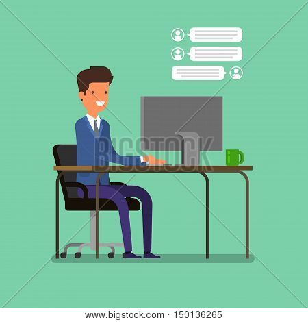 Live chat concept, cartoon businessman is chatting. Flat design, vector illustration.