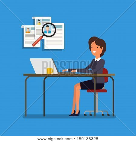 Business woman choosing person for hiring. Job and staff, human and recruitment, select people, resource and recruit. Flat illustration