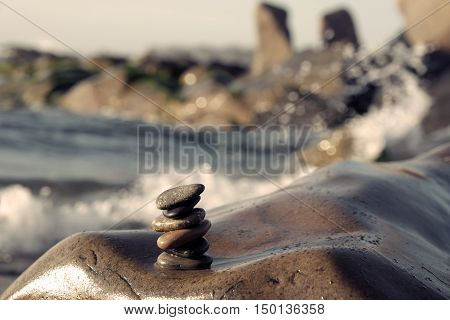 Stack Of Stones, Pebble Balance At Beach