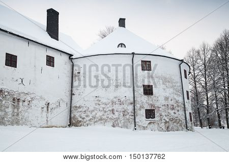White Round Tower Facade Of Turku Castle Bailey