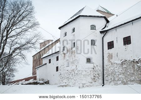 Facade Of Turku Castle Bailey In Winter Day