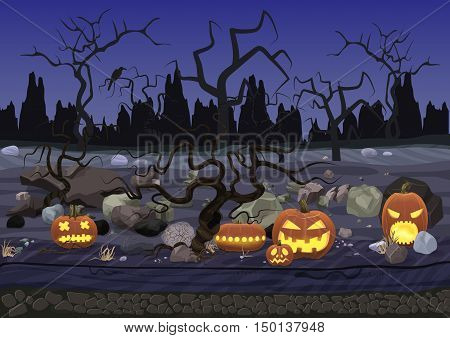 Dark night halloween background with pumpkins and trees
