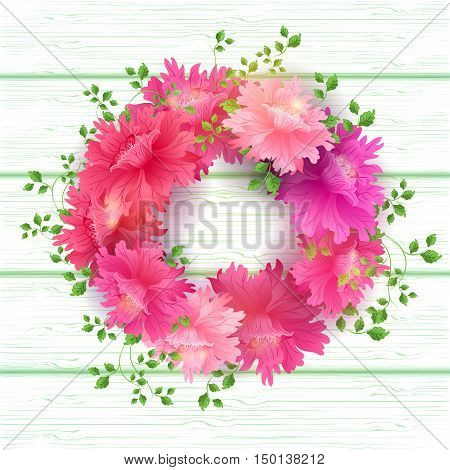 Postcard with Pink Blooming Flowers Bouquet on wood background