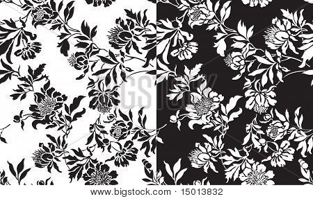 A Set Of Black And White Seamless Patterns