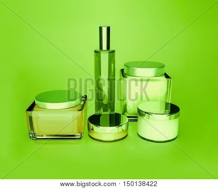 Jars of moisturizing face cream. 3D illustration