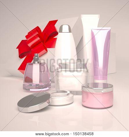Skin care beauty, Creams, shampoo, perfume. 3D illustration