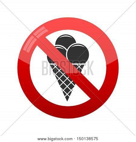 No ice cream symbol on white background