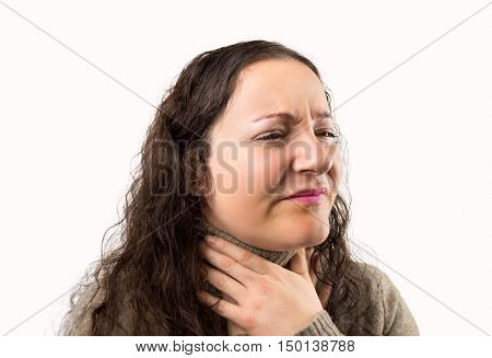 portrait of a woman suffering from throat problemswith white background