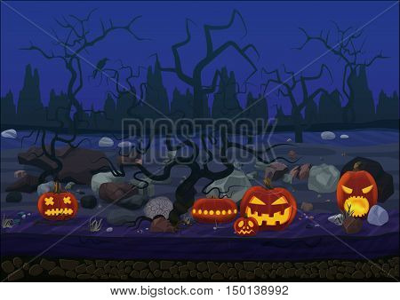 Midnight halloween background with pumpkins and trees