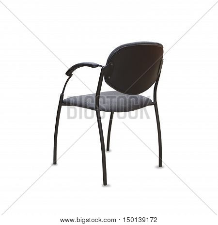 Back view of modern office chair from gray cloth