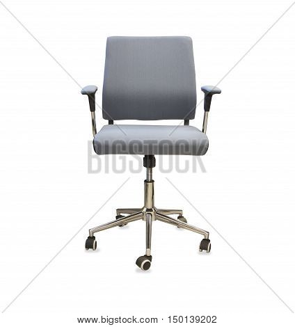 Modern office chair from gray cloth over white