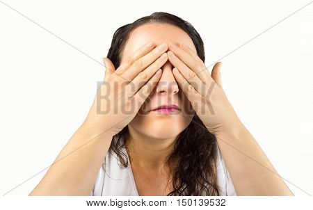 woman who does not want to see what happens in your environment with white background