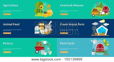 Farm and Ranch Conceptual Design | Set of great banner flat design illustration concepts for Farm, Ranch, harvest, agriculture and much more.