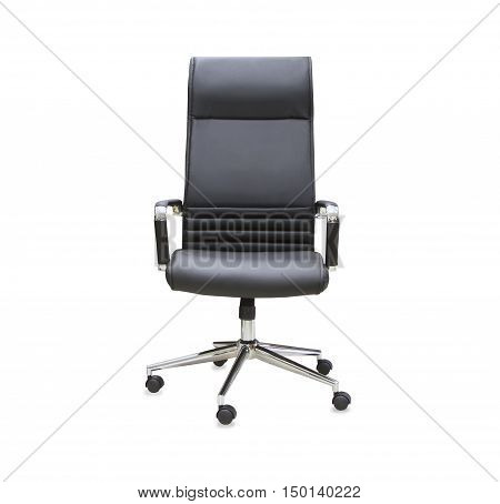 Modern office chair from black leather. Isolated
