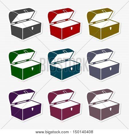 Treasure chest icon set, sticker set on gray background